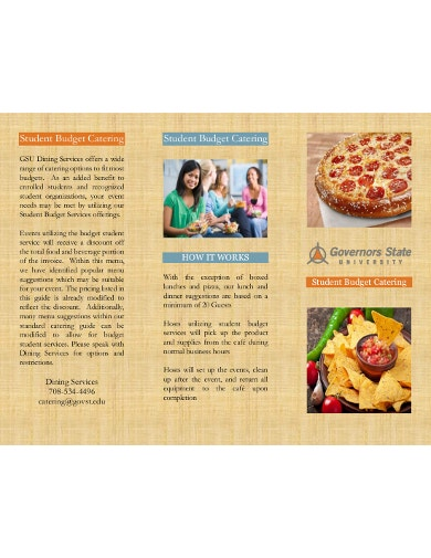 catering student budget template