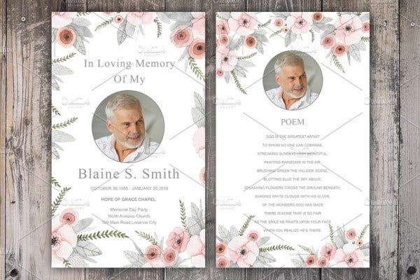 catholic funeral card template