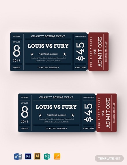 charitable sports event ticket template 1