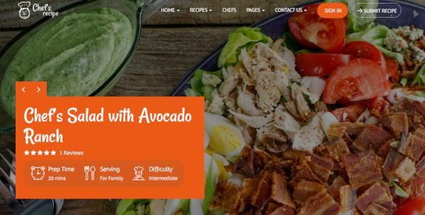 chefs recipe – widget ready wordpress theme