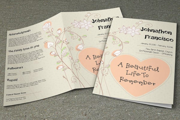 child funeral program template example
