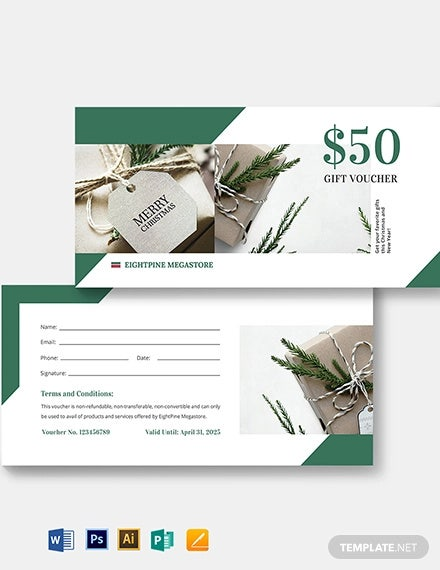 christmas gift voucher card template