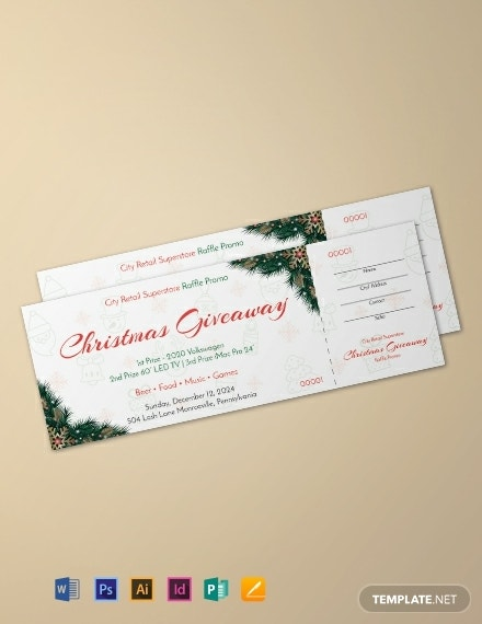 christmas raffle promo ticket template