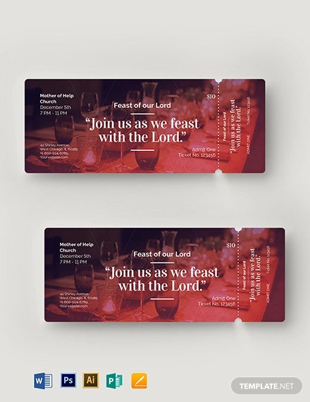church banquet ticket template