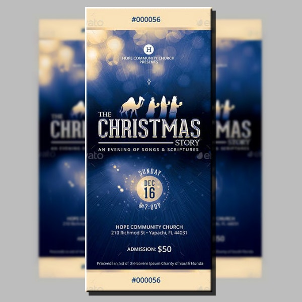 Church Christmas Story Ticket Layout
