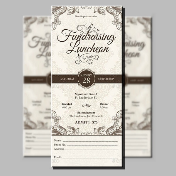 church fundraising luncheon ticket design