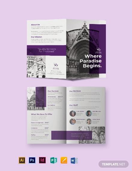 church funeral service bi fold brochure template