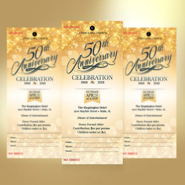 church golden anniversary ticket format