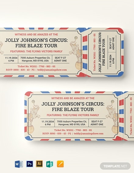 circus ticket invitation card layout