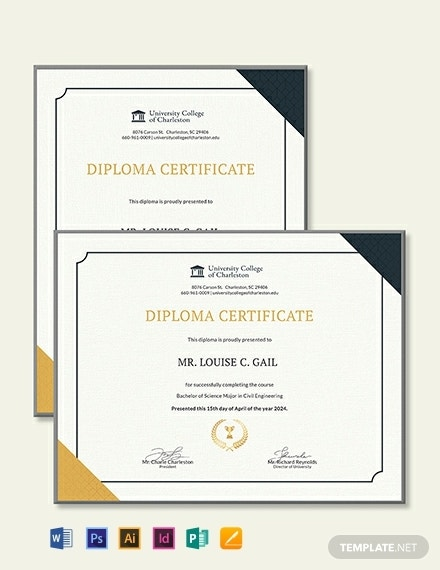 civil diploma certificate template