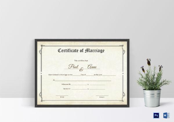 classic wedding certificate template