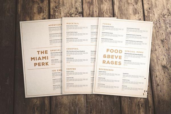 clean classic menu