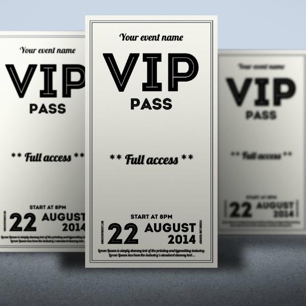 clean retro vip ticket format