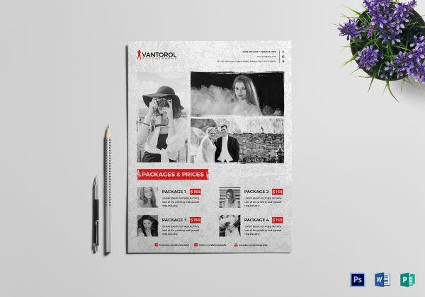 clean wedding photography flyer template