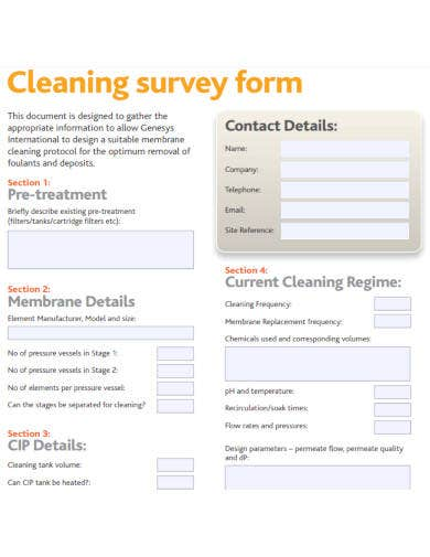 cleaning survey form in pdf