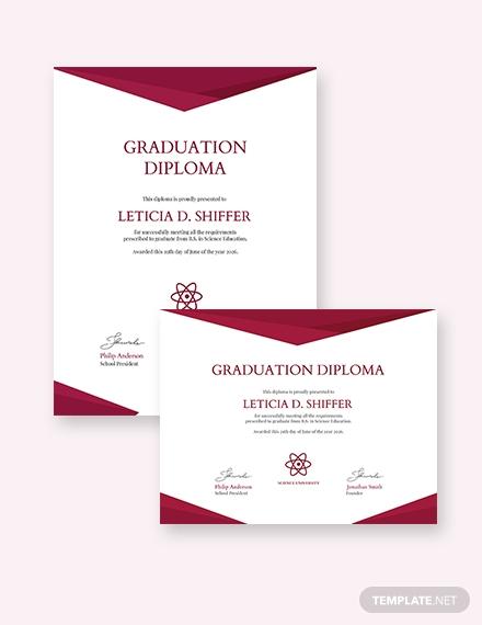 college diploma certificate template
