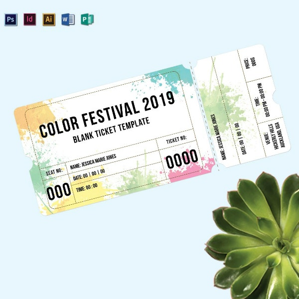 color festival event ticket example