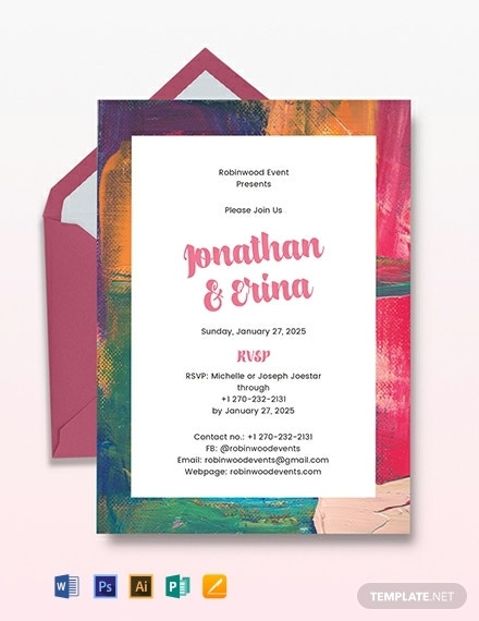 colorful art wedding invitation design