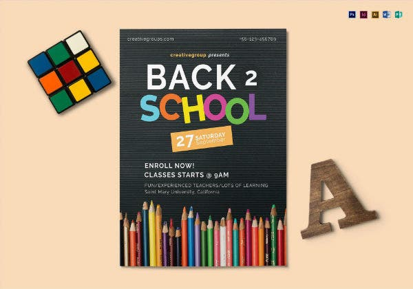 colorful back to school flyer template