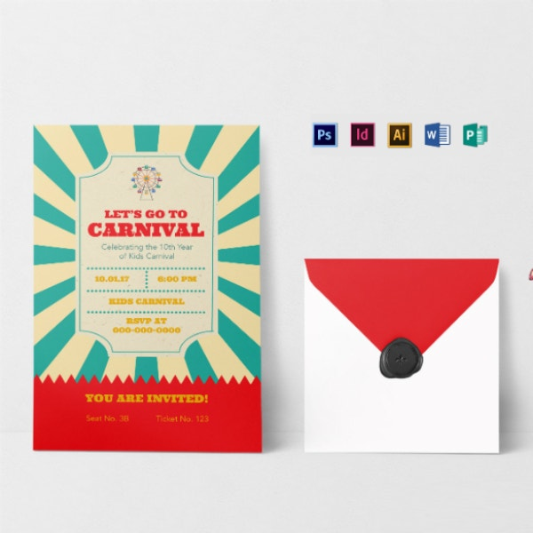 colorful carnival ticket invitation format