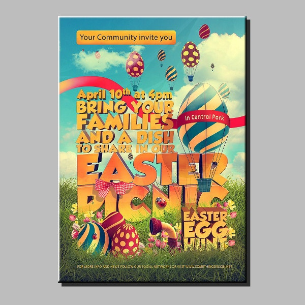 Colorful Easter Picnic Poster Example