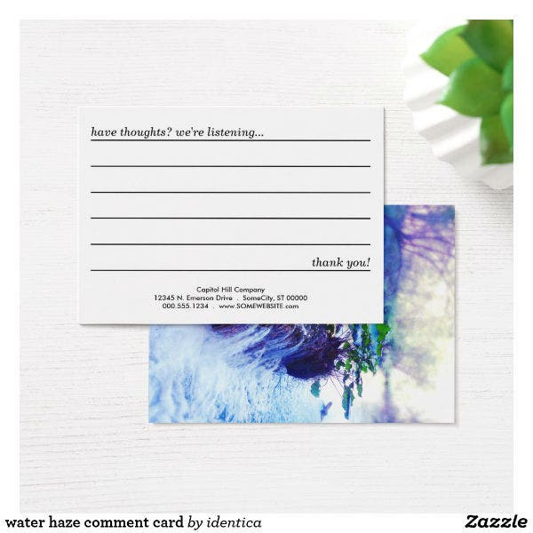 colorful restaurant comment card template