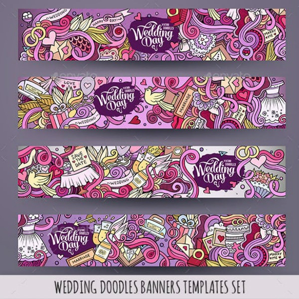 colorful wedding doodles banner example