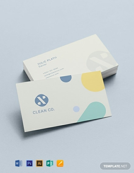 commercial cleaning business card sample