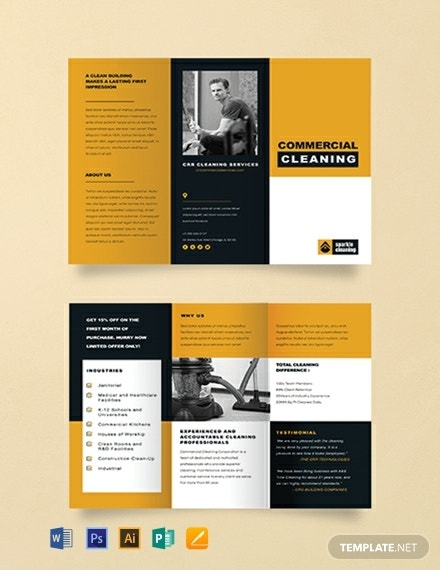 commercial cleaning business tri fold brochure