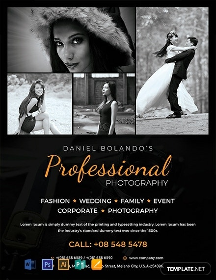 commercial wedding photography flyer template