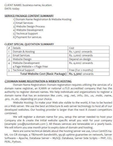 company project quotation template