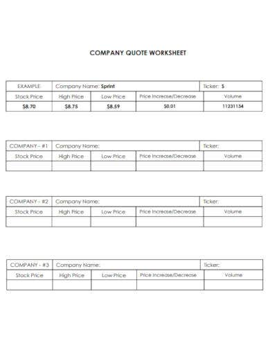 company quote sheet