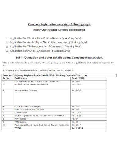 company registration quotation