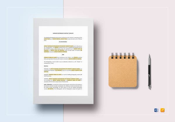 comprehensive wedding photography contract template