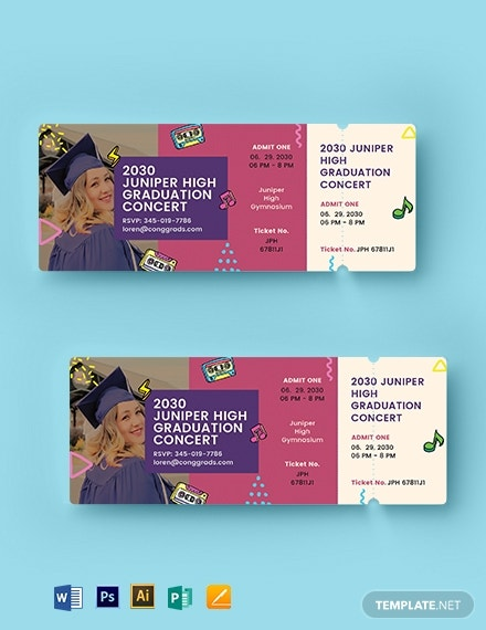 concert graduation ticket template