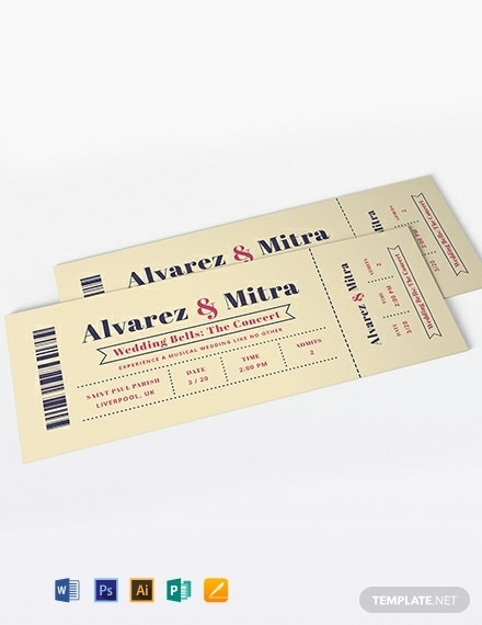 concert ticket wedding invitation sample