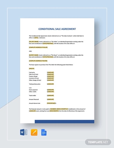conditional sales agreement template