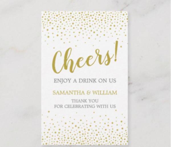confetti wedding drink ticket