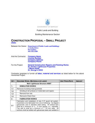 construction proposal small contract 1