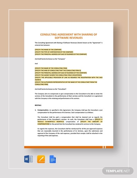 consulting agreement with sharing of software revenues template
