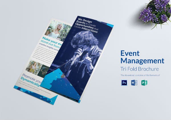corporate event management tri fold brochure template