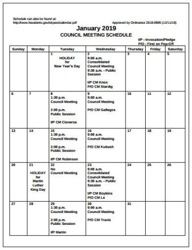 council meeting schedule template