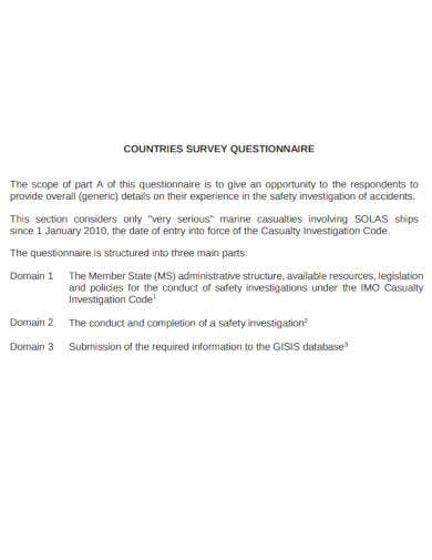 countries survey questionnaire in pdf
