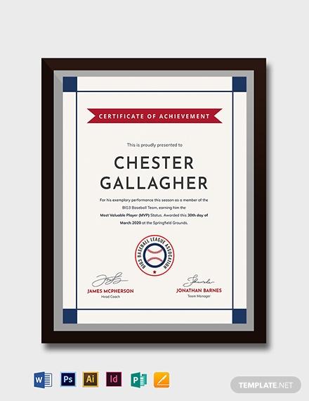 creative baseball award certificate template 1