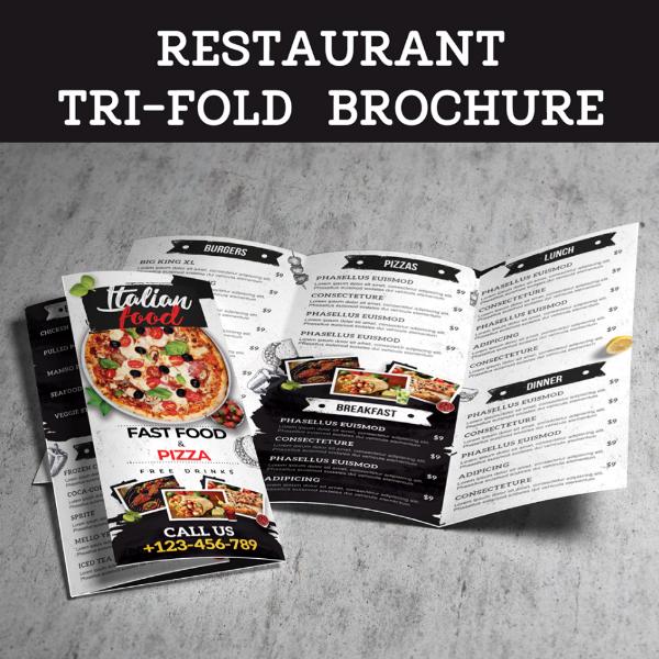 creative tri fold restaurant brochure example