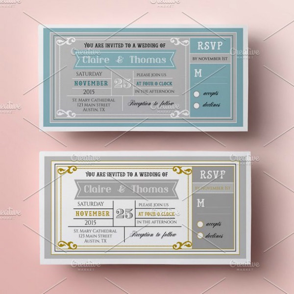 creative wedding ticket invitation template