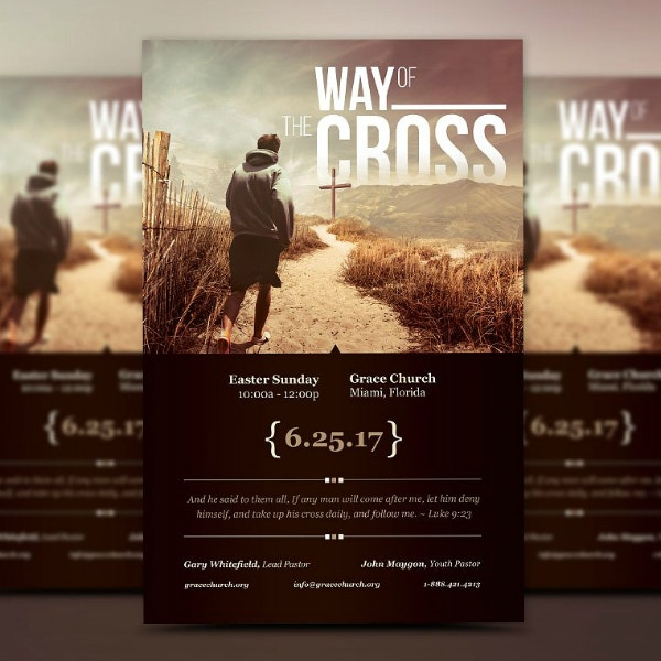 Cross Easter Sunday Poster Format
