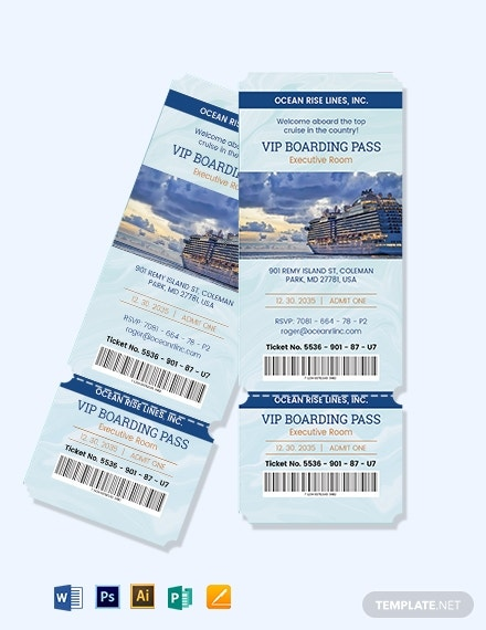 cruise vip pass ticket sample