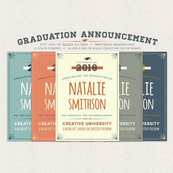 cute typographic graduation announcement example