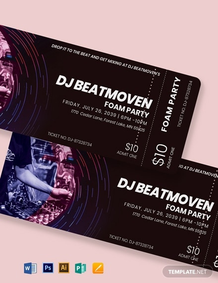 dj event ticket template 1